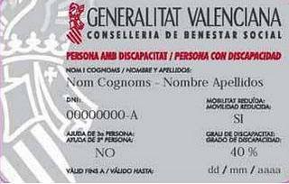 la tarjeta acreditativa de la condición de persona con discapacidad